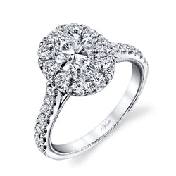 14K White Gold Engagement Ring Setting With 24 Round  Diamonds