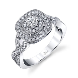 14K White Gold Engagement Ring Setting With 92 Round  Diamonds