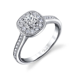 14K White Gold Engagement Ring Setting With 30 Round  Diamonds