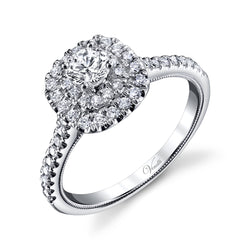 14K White Gold Engagement Ring Setting With 48 Round  Diamonds