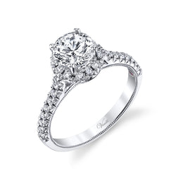14K White Gold Engagement Ring Setting With 31 Round  Diamonds