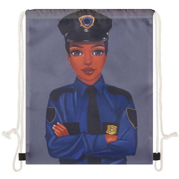 Policewoman Drawstring Bag