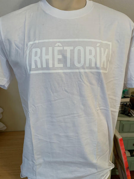 RHETORIK Tee (white logo on white shirt) - Large
