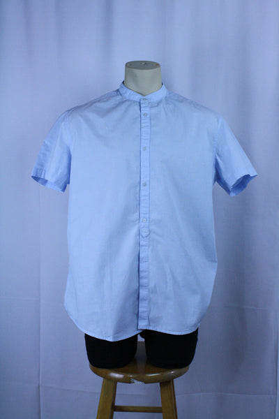 Light Blue Band Collar Button Up (XL)