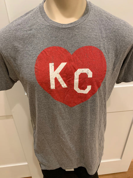 KC Heart Short Sleeve Gray Tee Shirt - Large
