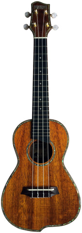 Makai CKQ-24 Solid Hawaiian Koa Series Q-Shaped Concert Ukulele