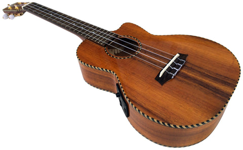 Makai Solid Curly Hawaiian Koa Series With Pickup Cutaway Tenor Ukulele TKU-25