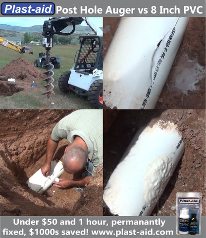 Hit water line with post hole auger digger