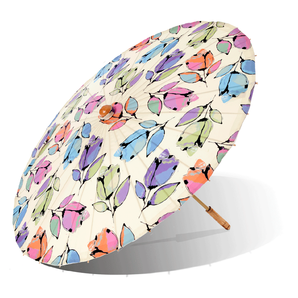 Lily-Lark Bellflower print handcrafted bamboo and fabric UV sun parasol / umbrella