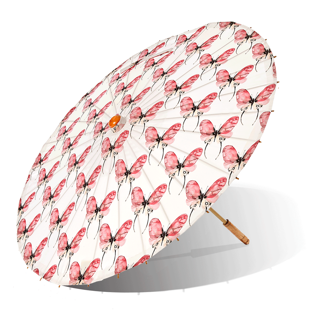 Lily-Lark rose and pink butterfly print handcrafted bamboo and fabric UV sun parasol / umbrella
