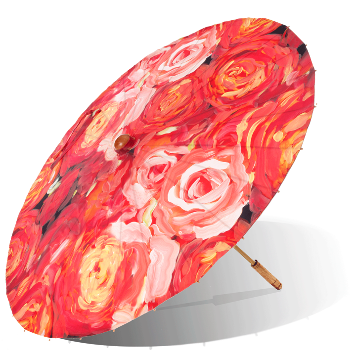 Lily-Lark coral and red rose print handcrafted bamboo and fabric UV sun parasol / umbrella