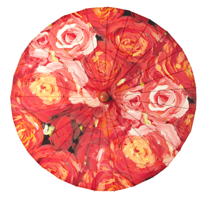 Lily Lark Coral Roses Handcrafted UV Sun Parasol