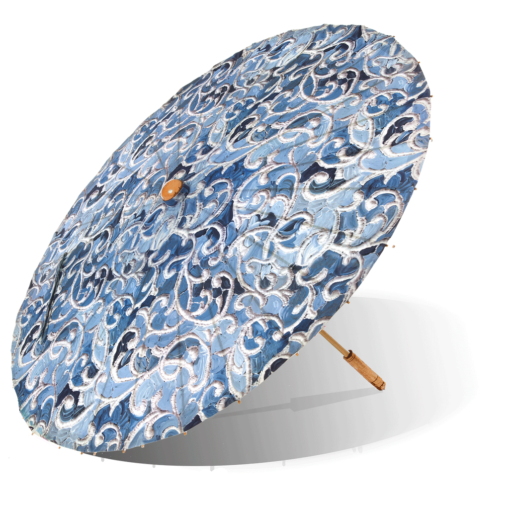 Lily-Lark navy and blue denim vine print handcrafted bamboo and fabric UV sun parasol / umbrella