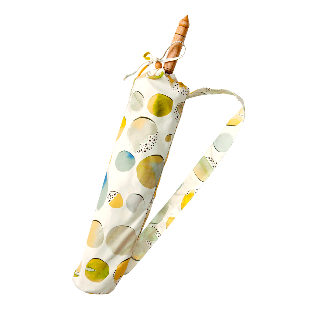 Lily-Lark blue, green and yellow fun circles print handcrafted bamboo and fabric UV sun parasol / umbrella in carrying case