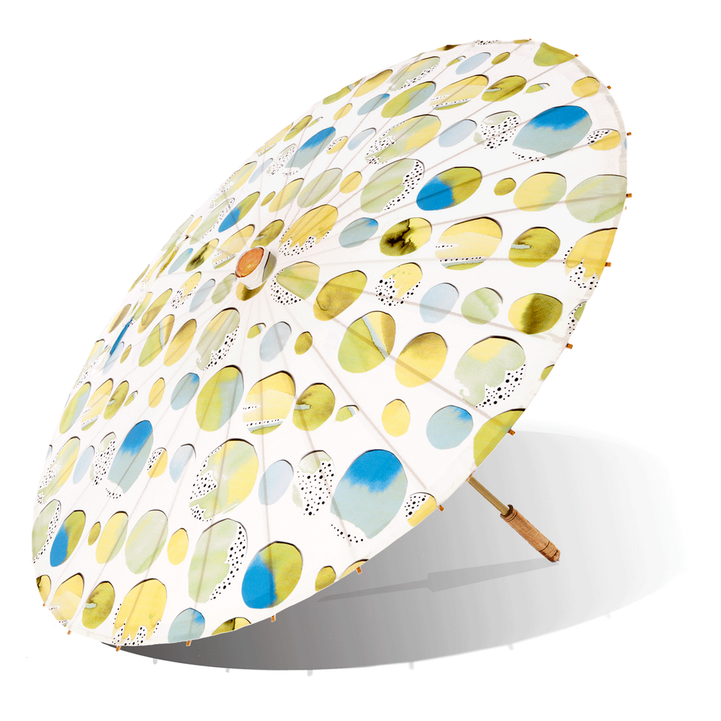 Lily-Lark blue, green and yellow fun circles print handcrafted bamboo and fabric UV sun parasol / umbrella