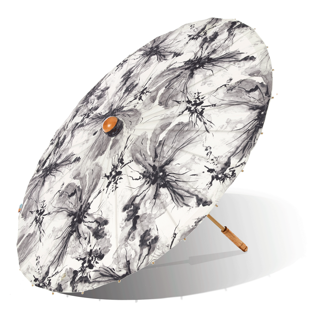 Lily-Lark black, grey and white ink wash flower print handcrafted bamboo and fabric UV sun parasol / umbrella