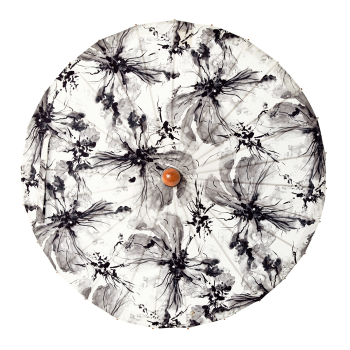 Lily Lark Ink Wash Flowers Handcrafted UV Sun Parasol