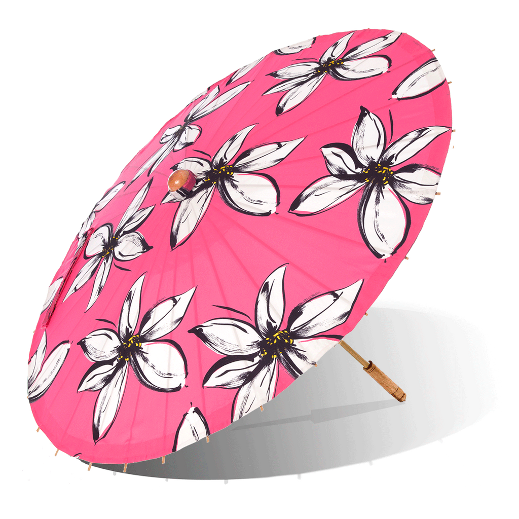 Lily-Lark pink mod flower print handcrafted bamboo and fabric UV sun parasol / umbrella