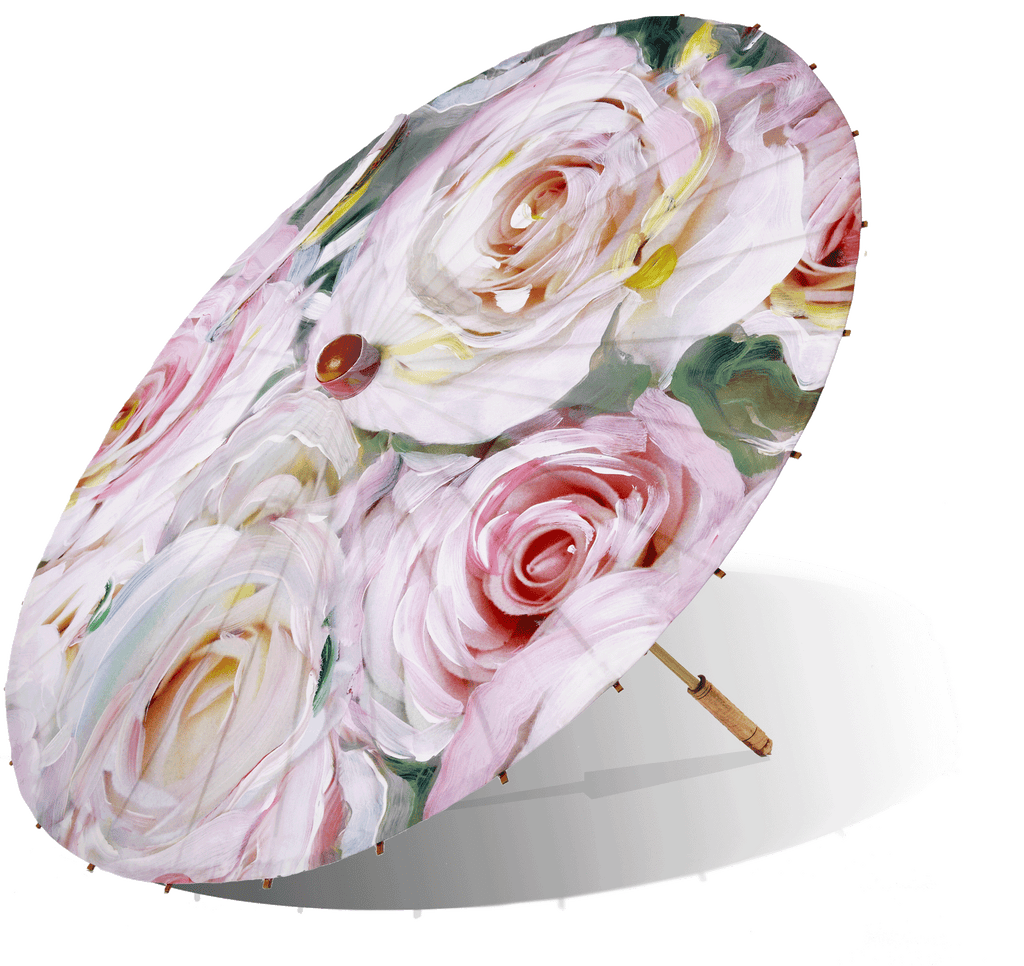 Lily Lark Ink Pink Roses Handcrafted UV Sun Parasol
