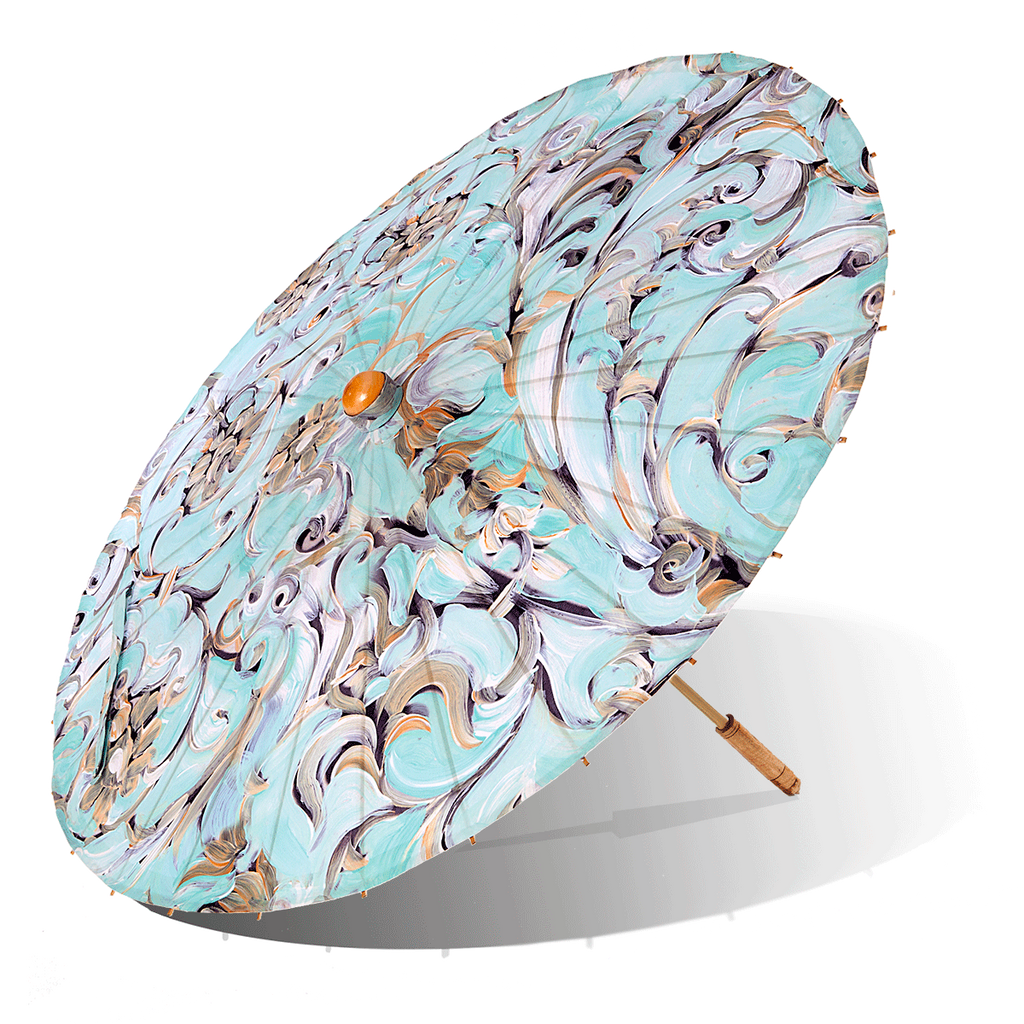 Lily-Lark aqua and gold scroll print handcrafted bamboo and fabric UV sun parasol / umbrella