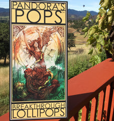 Pandora's Pops sign with hot air balloon in California