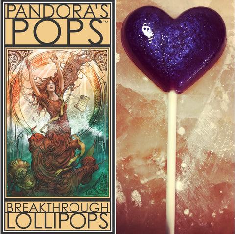 Pandora's Pops illustration and purple lollipop