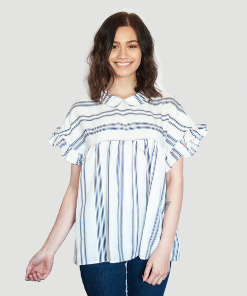 Victoria Striped Collared Top