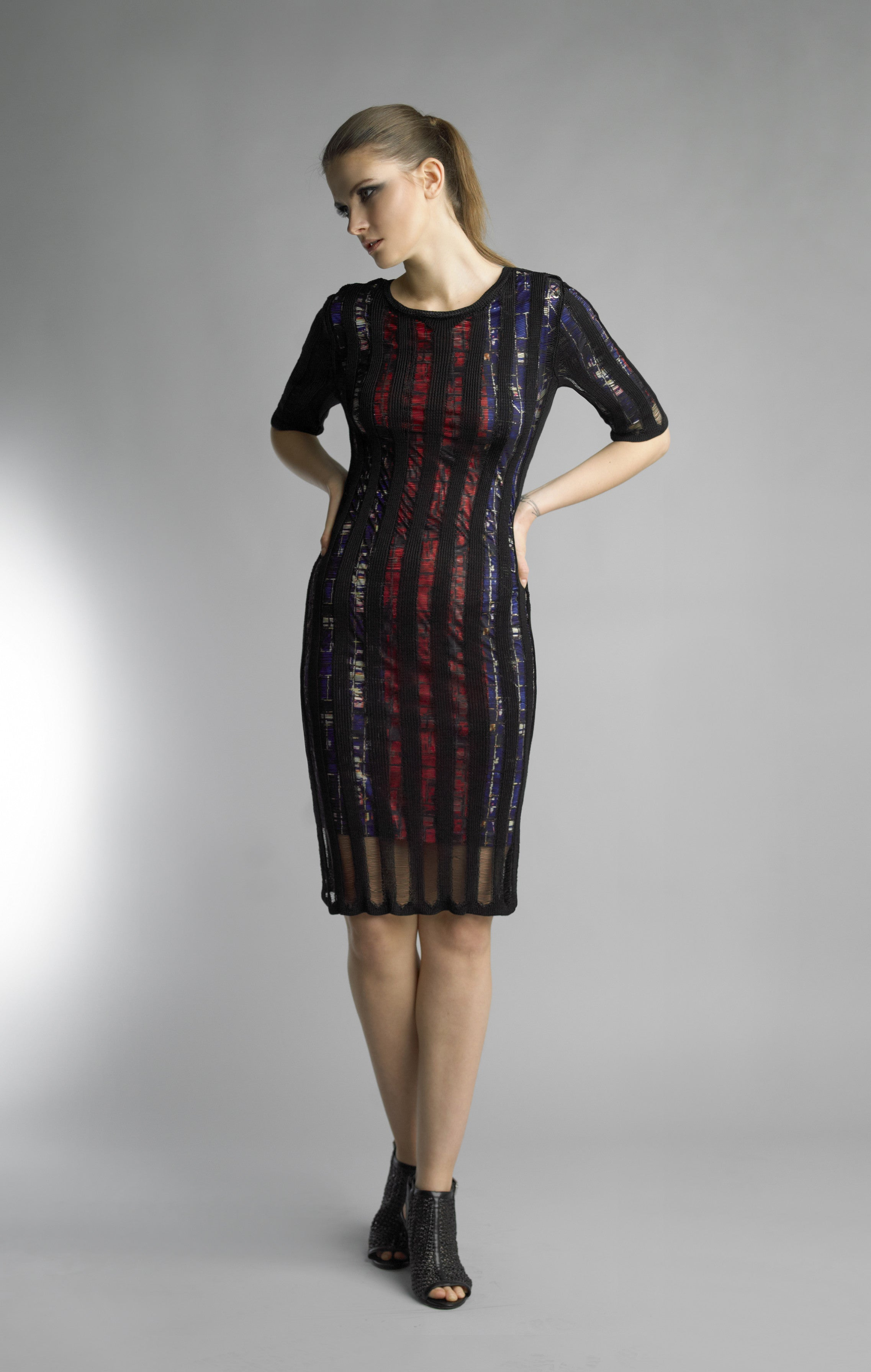 Historic New York Bleu et Rouge Robe de Vitrail Dress - Historic New York
