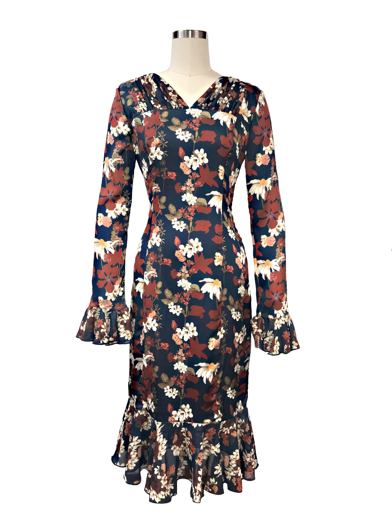 Historic New York Chamomile Floral Charmeuse Silk Georgian Dress - Historic New York