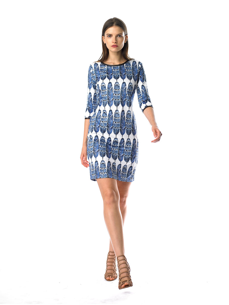 Historic New York Plume Dress - Feather Print Blue Fashion Dress