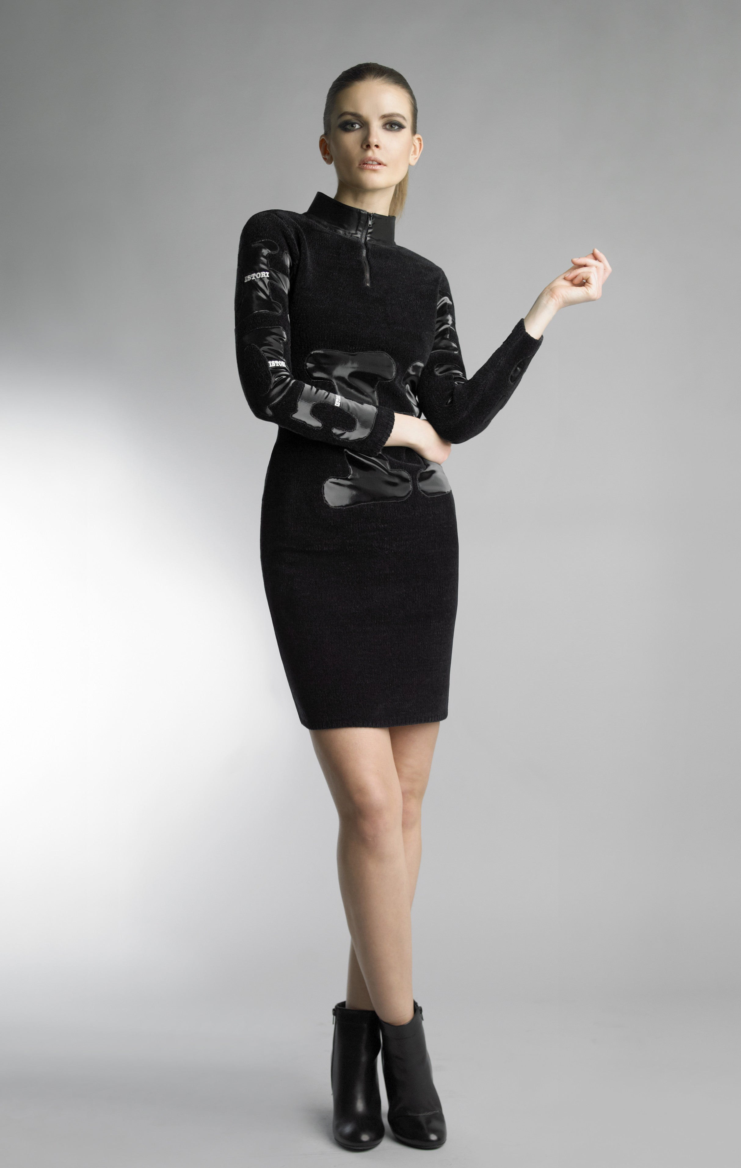 Historic New York Monochrome Collection - Black Laser Vinyl Dress