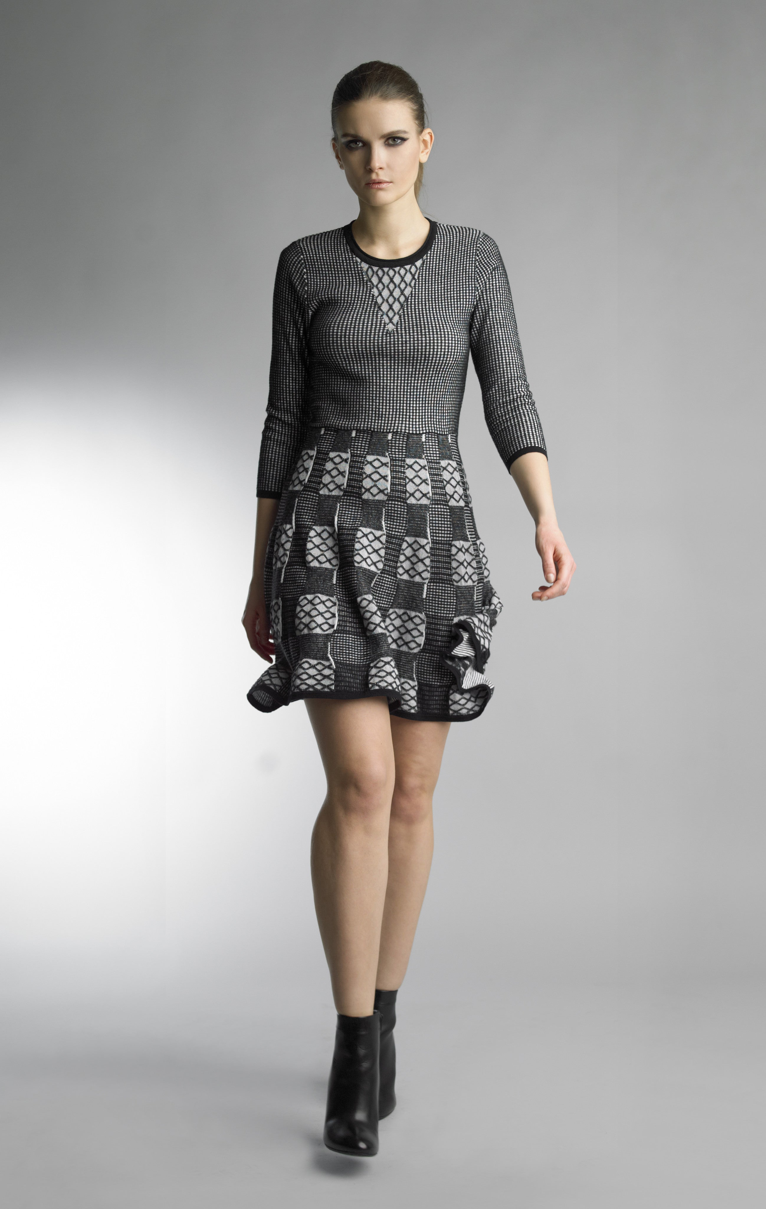 Historic New York Achromatic Geometric Fit and Flare Knitted Dress - Historic New York