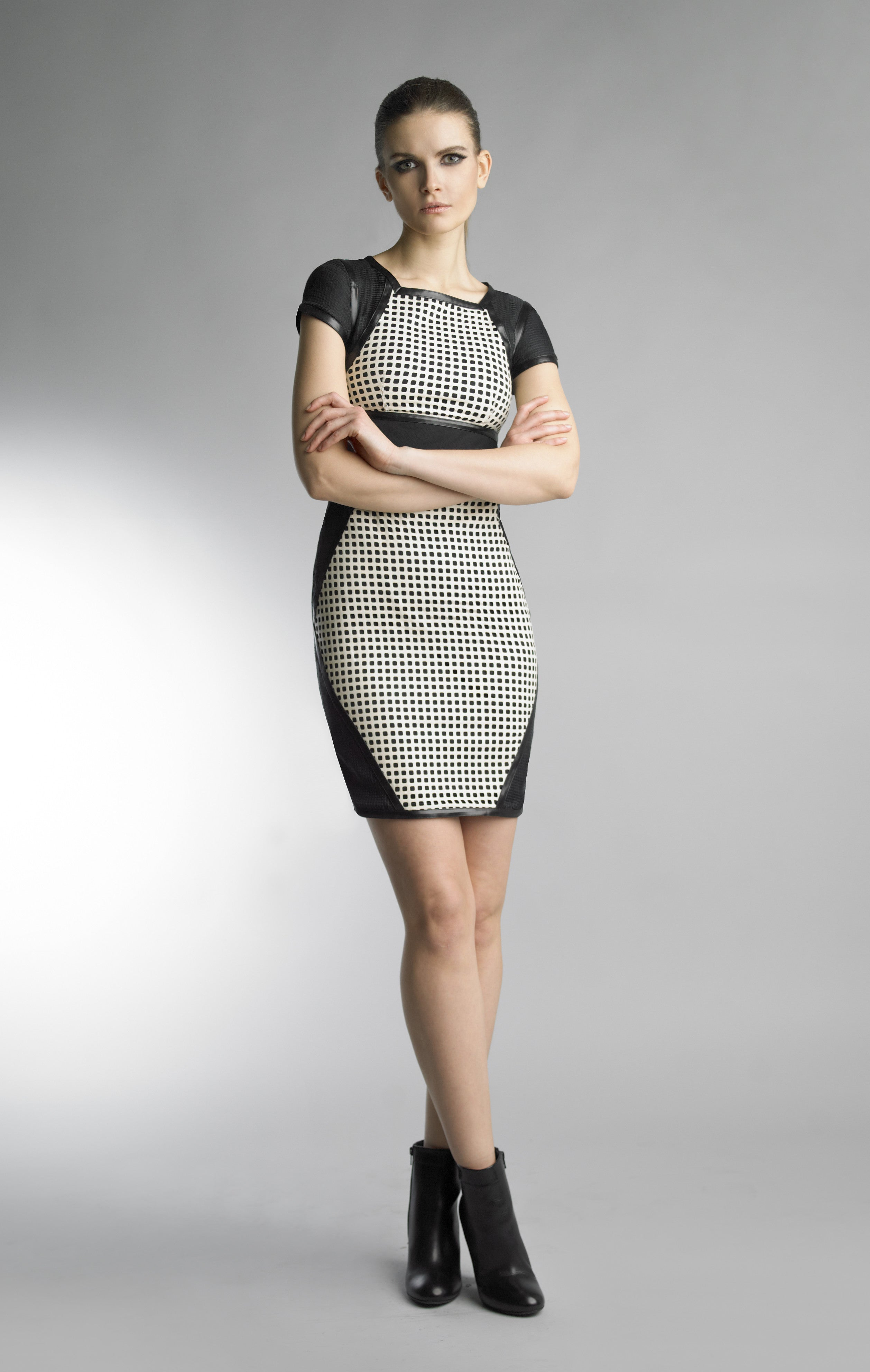 Historic New York Monochrome Collection - Ceramic Tile Leather Laser Cut Black and White Dress