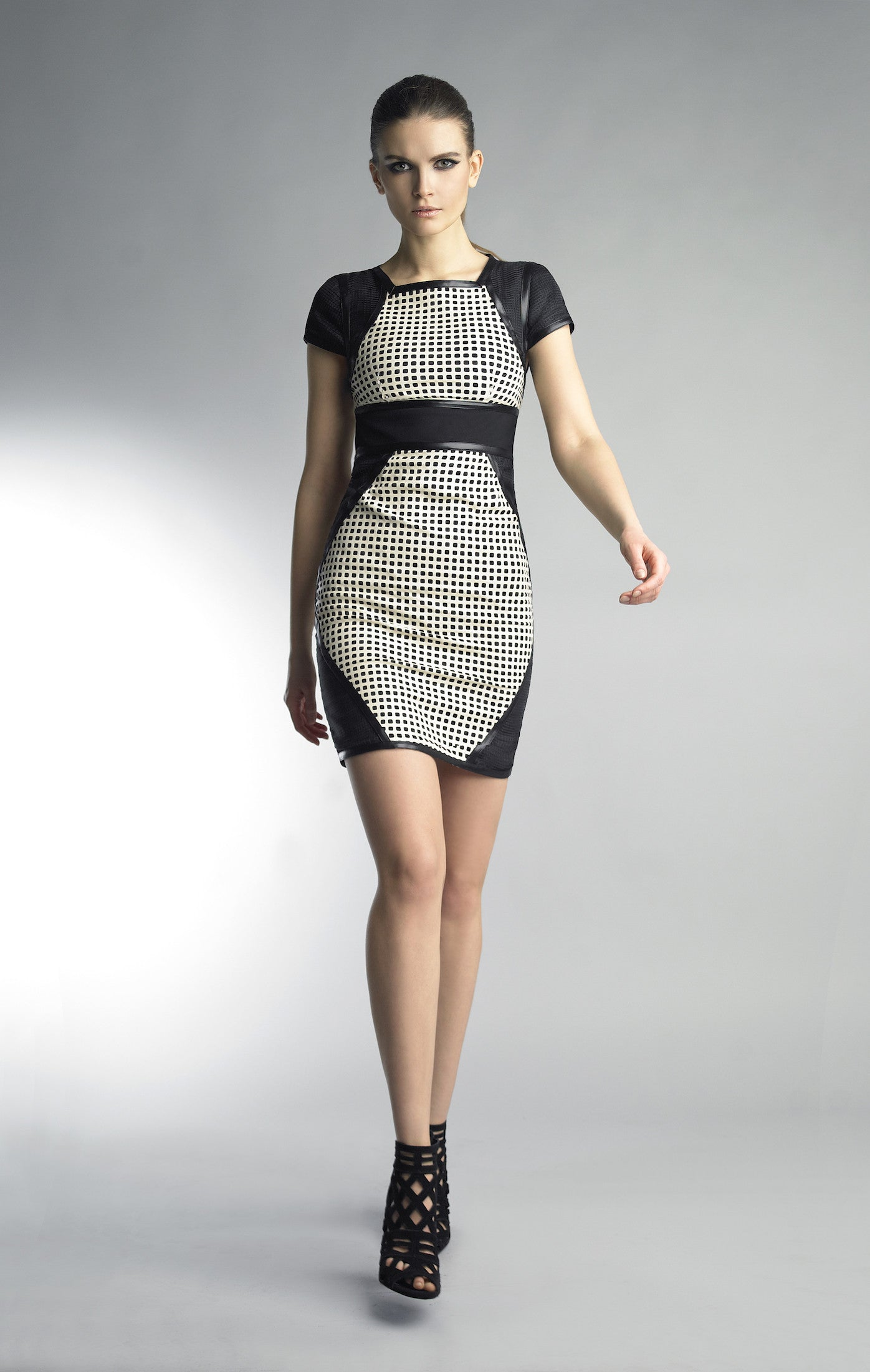 Historic New York Ceramic Tile Leather Laser Cut Black and White Dress - Historic New York