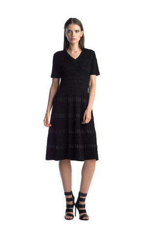 Historic New York Black iced Plissé Textured Flare  Black Dress