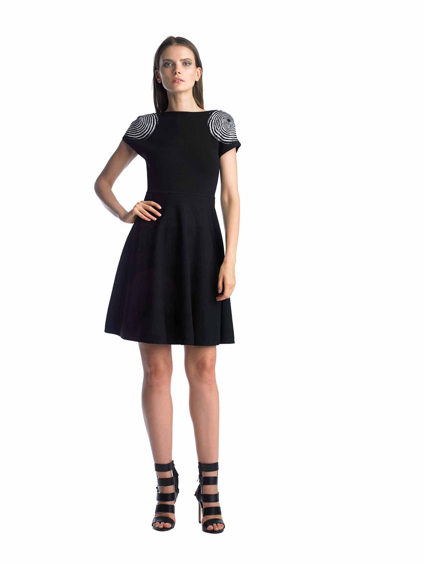 Historic New York Fingerprint Jacquard Fit & Flare Knit Dress