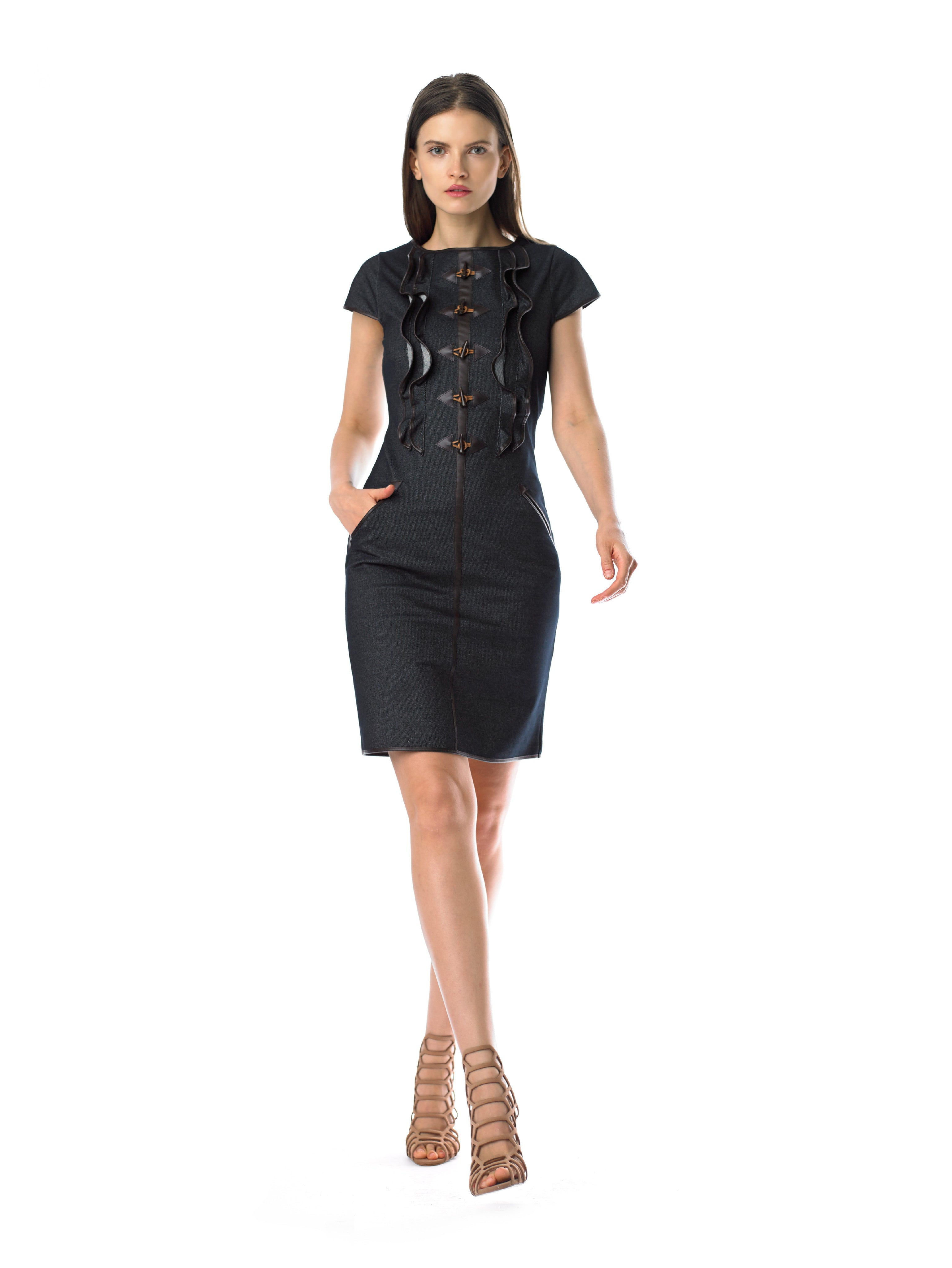Historic New York Paleolithic denim sheath dress with cap sleeves