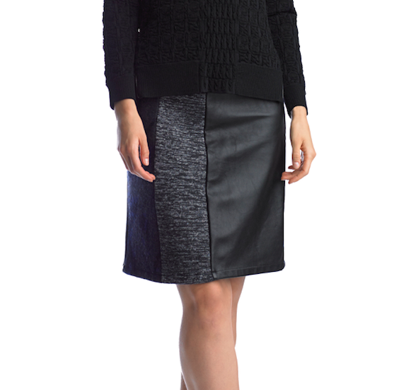 Historic New York Space Dye and Jacquard wool pencil Black Skirt