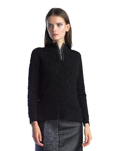 Historic New York Black iced Plissé Textured Black Top