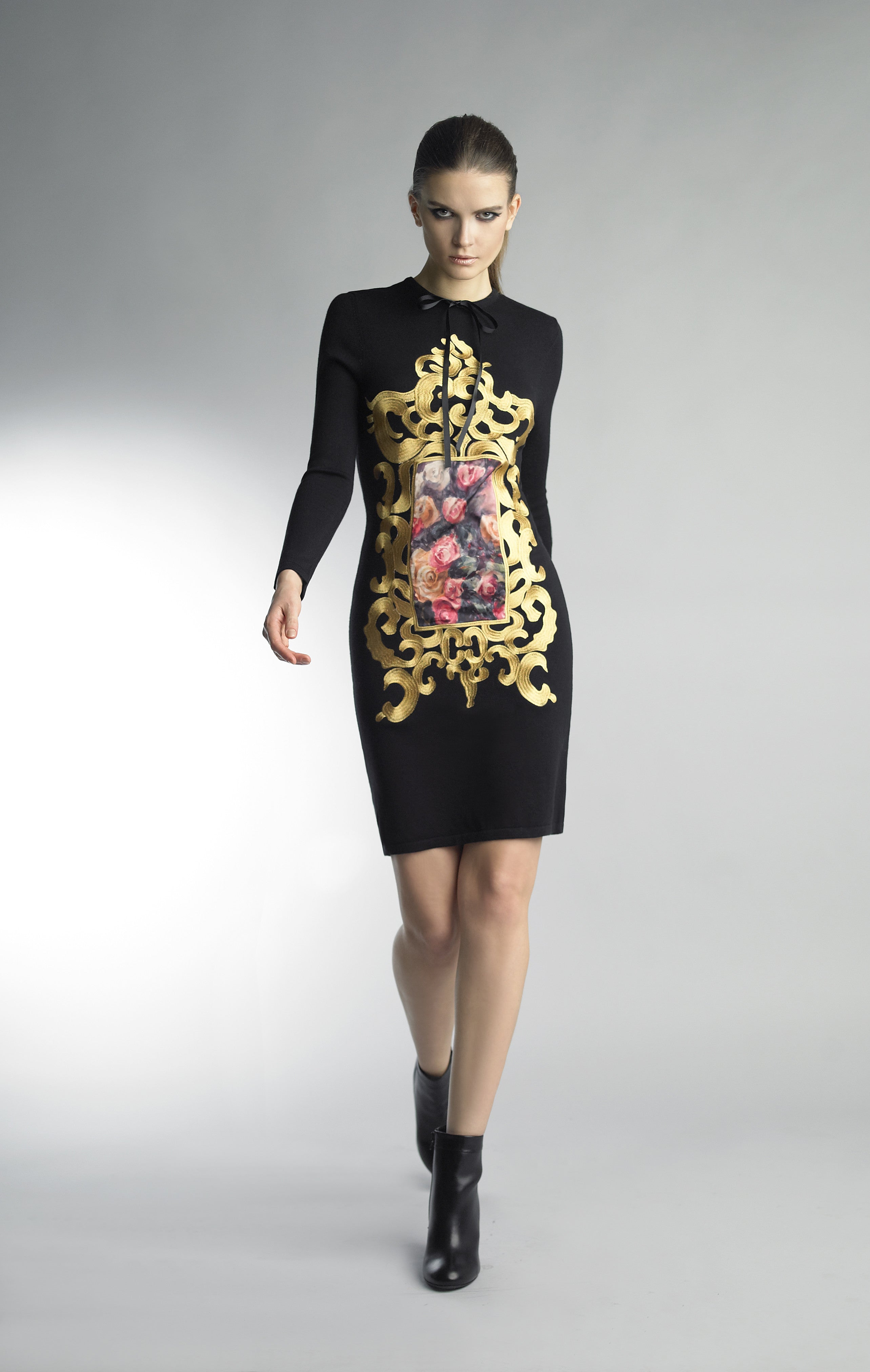 Historic New York Black and Floral Carnation Art Gallery Dress - Historic New York