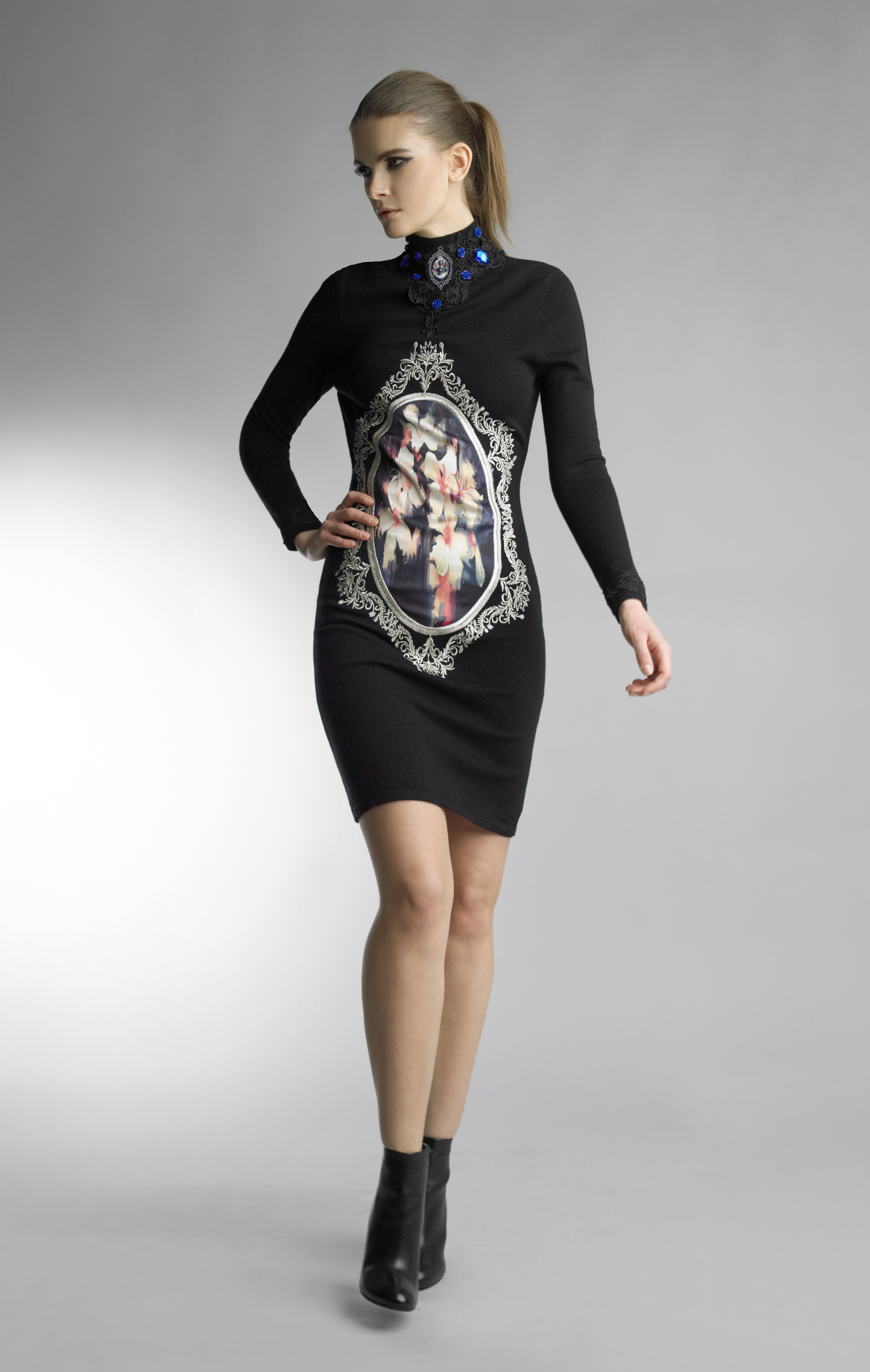 Historic New York Black Floral Art Gallery In Cabochon Dress - Historic New York