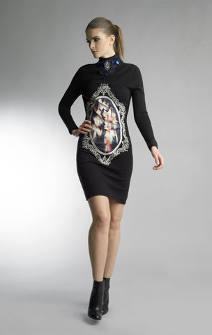 Historic New York The Historian Collection - Black Floral Art Gallery In Cabochon Dress