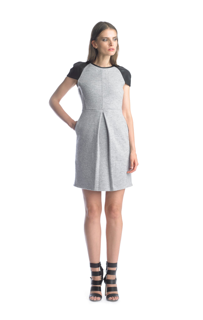 Historic New York Leather Front Fold Cap Sleeve Grey dress