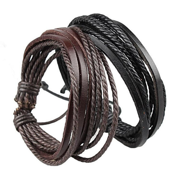 Genuine Leather Bracelet with Braided rope Unisex for Men & Women - ELARIC Collection