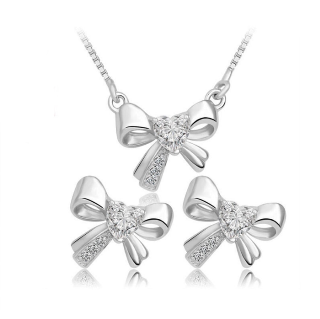 Cute Bow Sterling Silver .925 Earring & Pendant Set - ELARIC Collection