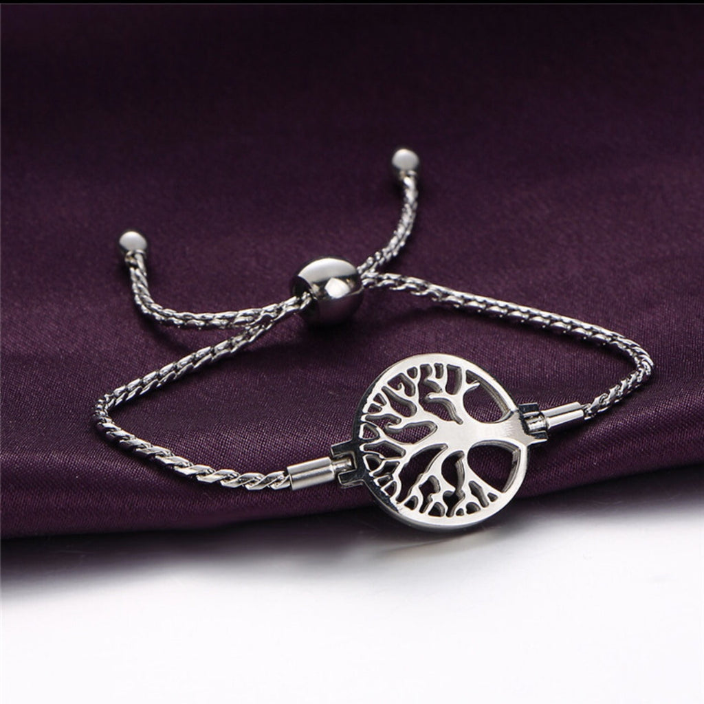 Fashion Stainless Steel Silver Tree of Life Bracelet for Woman - ELARIC Collection