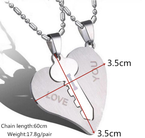 I Love You Pendant in Couple Heart & Key Necklace Stainless Steel - ELARIC Collection