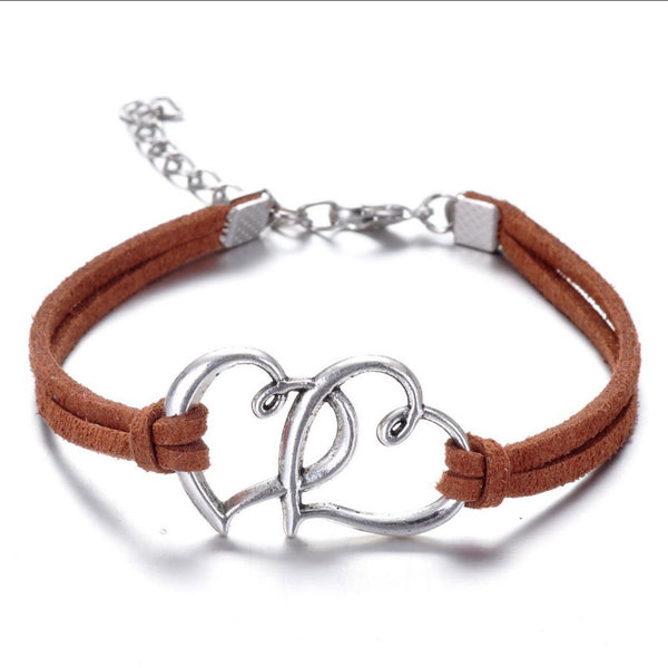Heart-shaped leather bracelet heart bracelet - ELARIC Collection
