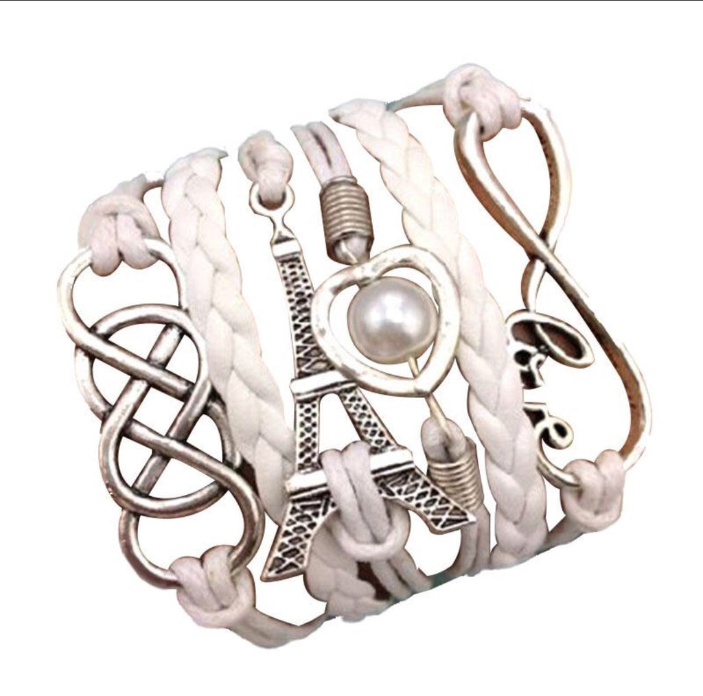 Multilayer Infinity Lover Heart Tower Braided Bracelet Bangle White - ELARIC Collection