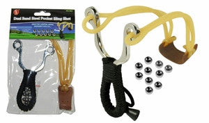 "5"" Dual Band Heavy Duty Steel Pocket Sling Shot,10 Steel Balls, Rope Wrapped Handle"